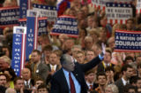 NEW YORK CITY, NY - AUGUST 30, 2004 -- Ex-New York City mayor Rudy Giuliani waves to the crowd as...