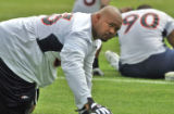 Denver Bronco defensive tackle #63 Sam Adams (cq)  during mini training camp at Dove Valley...