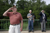 WWII Army Veteran C.W. Holmstead (cq), left, Korean War Army Veteran Vernon Weitzell (cq), and...