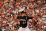 (JOE-a-088) - Colorado Rockies pitcher Josh Fogg pitches in the top of the third inning. Colorado...