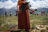 Cree and Blackfeet Native American medicine woman, Lorain Fox Davis (cq) conducts the Native...
