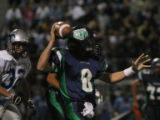 Thunder Ridge's #8 Alex Sawyer makes a pass at Shea Stadium in Highlands Ranch., Colo. Friday ,...