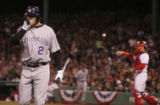 [RMN1556] Colorado Rockies Troy Tulowitzki walks back to the dugout after striking out in the...