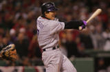 [RMN3678] Colorado Rockies Kaz Matsui swings and strikes out against Boston Red Sox pitcher...