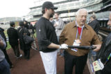 [RMN1024] Colorado Rockies Todd Helton asks baseball legend Tommy LaSorda ( NOT CQ)  to touch his...