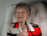 (WESTMINSTER, CO., MAY 19, 2004)  Alice Ferebee Shelley, 89, of Westminster, Colo., pulls back the...