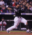 [RMN1620] Colorado Rockies Matt Holliday watches his home run go over the wall for three scores at...