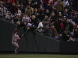 [3717]  Boston Red Sox right fielder Jacoby Ellsbury catches a foul ball hit by Ryan Spilborgh as...