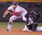 [RMN1692] Colorado Rockies Kaz Matsui is easily safe at second base while Dustin Pedroia gets a...