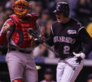 [RMN1070] Colorado Rockies Troy Tulowitzki shouts in disgust after striking out his first at-bat...