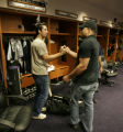 0347 Colorado Rockies Ryan Spilborghs, left, and Yorvit Torrealba, right, wish each other a...