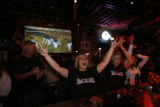 Rockies fans at Jackson's Sports Bar and Grill Lodo go crazy as the Rockies sweep Arizona in the...