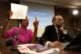 (Denver, Colo., September 15, 2004) The Mayor's liason to the City Council Happy Haynes, left, and...