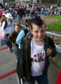 Alex Larson (cq) wore a purple hair color to the grand re-opening for Weber Elementary school in...