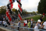 Students enter Weber Elmentary during the grand re-opening for Weber Elementary school in Arvada...