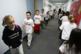 Third grade students from Kristen Hayens classroom take a tour during the grand re-opening for...