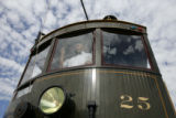 DM0030     Darrell T. Arndt stands at the controls of Interurban No. 25. Arndt is the project...