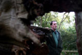 NY363 - **ADVANCE FOR MONDAY, NOV. 5** Senior Ranger, Paul Cook is seen through the trunk of a...