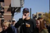 A Rockies fan (NO NAME) boos at Coors Field in Denver, Colo. during the announcement that tickets...