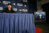Colorado Rockies Jeff Francis, speaks to the media during press conference, Tuesday Oct. 23, 2007,...