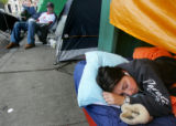 Boston Fan and Boston University student Kaitlin Daly (cq), 18,  sleeps while waiting in line for...