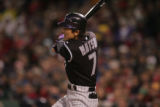 [ROX1902] Colorado Rockies Kaz Matsui pops out to shortstop to end the third inning of Game 1 of...