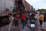 Illegal immigrants from Central America along the route from Chiapas to Veracruz, Mexico on August...