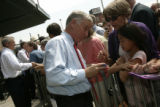 Democratic National Committee Chairman Howard Dean signs an autograph for Catherine Chorney (cq),...
