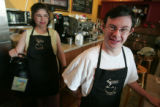 Elsa Lombardi (cq), left, and Teddy Polito(cq) love their boss and jobs at Steamers Coffeehouse in...