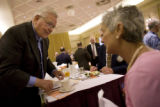 Former Colorado Governor Roy Romer talks to members of Rotary Club of Des Moines at the Hotel Fort...