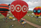 Balloons filled with air as seen from the Re/Max Balloon during the 8th annual Rocky Mountain...