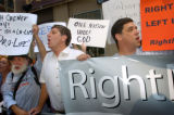 (8/29/04, New York, NY)  Pro-Lifer Lighthouse Louie, far left, Operation Rescue Founder Randall...