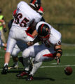 Steamboat Springs running back, Jay Hanley, fumbles the ball in the first half, Kent Denver...