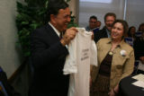 New Mexico Governor Bill Richardson, running for President, got a t-shirt from an unidentified...