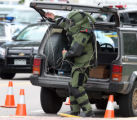 Wire is pulled from a Jeep Cherokee after Boulder Police and their bomb unit responding to a...