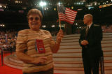 NEW YORK CITY, NY - SEPT. 2, 2004 -- Pat Oellinger, of Hicksville, NY, waves an American flag in...