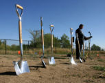 Kevin Wolfe (cq), General Manager for Crown Hill, opens the ground breaking ceremony for the new...