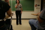 Dr Ruth Chavez listens to her students during her 'Organizational Behavior' class at Metro State...