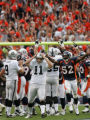 [JOE0822] Denver Broncos linebacker Ian Gold, #52, celebrates a missed field goal by Oakland...