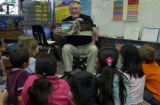 (ARVADA, Colo., April 27, 2004) Bill Johnson, 75,  in Miss Dawn Axelson's 3rd grade class during...