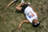 "Debbie Clavel (cq) stretches her hips before she competes with her team- ""Fed Force"" at..."