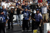 Crew and friends of Pro Stock Champion Allen Johnson Celebrate after his win on Sunday July 15,...