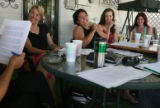 Billie McBride (cq)(not shown) hosted a first read through of a play in the backyard of her home...