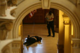 The body of an unidentified man lies on the floor after being shot by a Colorado State Patrol...