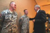 Gov. Bill Ritter (cq) welcomes home (l to R) Sgt. Jeremy Flockhart (cq), and Sgt. David Withrow...