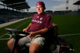 Bret Baird, 30, of Parker, Turf manager at Dick's Soccer Stadium.  Baird is linked in three steps....