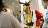 Sage Iron Cloud, of Rapid City, S.D., and Luke Bell of Riverton, Wyo., perform at the Children's...