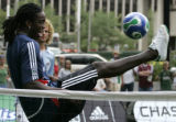 Shalrie Joseph, a player for the New England Soccer team,  plays Futvolley(cq), a combination on...