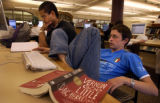[Denver, CO - Shot on: 9/20/04]  James Siegesmund (front) a DU law graduate and Andrew Thompson, a...