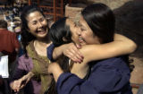 ( MORRISON, Co., May 20, 2004) Sarah Chan (right) , a Thunder Ridge H.S. senior is hugged by her...